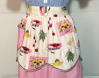 Vintage Reversible Retro Apron Pink with Green Rickrack 50's