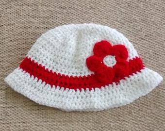 Girls Crochet Sun Hat w/Flower Women/Child/Toddler/Baby