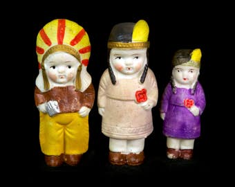 This Item has Sold ---- Vintage Bisque 1920s Carnival Prizes, Family Set of Three!