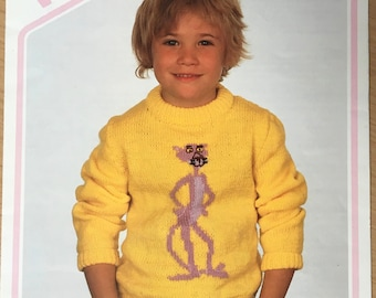 Childrens Pink Panther Knitting Pattern, Wendy Knitting Pattern, Childrens Pink PantherJumper, Childrens Sweater, Girls Jumper, No. 2543