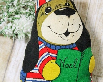 Vintage Cut and sew Dog Ornament-Handmade Dog Ornament-Fabric Cut and sew-Noel-Christmas ornament-Puppy Dog-Christmas Ornament-On Sale