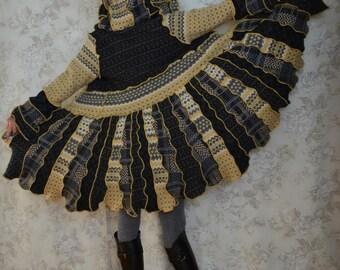 Katwise inspired upcycled sweater coat - Kirtland's Warbler- Patchwork- MEDIUM