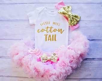 Girl's First Easter Outfit,Easter Shirt, Little Miss Cotton Tail, Girl First Easter Outfit, Easter Outfit Girl, 1st Easter Outfit