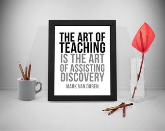 Art of Teaching Printable Quotes, Educational Posters, Assisting Discovery Sayings, Education Print, Mark Van Doren Sayings