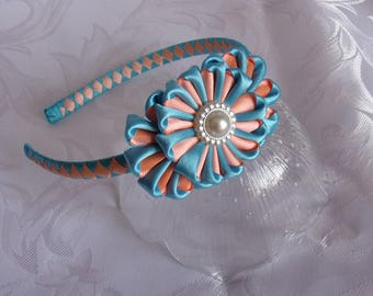 Kanzashi blue and orange/tiara kanzashi flower headband blue and orange/flowers kanzashi/Headband kanzashi/Ribbon satin