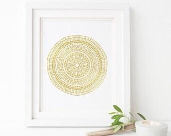 Mandala wall art, Gold, Zen print, Home, Printable wall art, Minimalist, Yoga art print, meditation, Gold circle, Mehndi Flower Art, decor