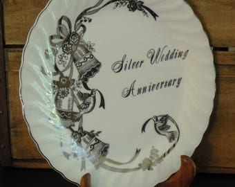 Vintage 25th Silver Wedding Anniversary, Collectible Plate, Gift for Couple, Lefton China, Hand Painted Decorative Plate, Gift for Friends