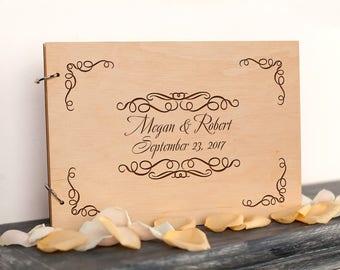 Wedding Guest Book, Wooden Rustic Wedding Guest Book, Custom Guest Book, Personalized Wedding Guestbook Album, monogrammed, rustic album