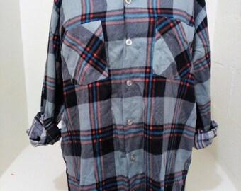 Vintage Flannel, Boyfriend Shirt, Oversized Flannel
