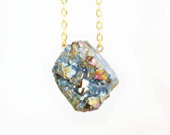 Raw Crystal Necklace, Rainbow Crystal, Gemstone Necklace, Stone Necklace, Rough Crystal, Gemstone Pendant, Crystal Pendant, Boho Necklace