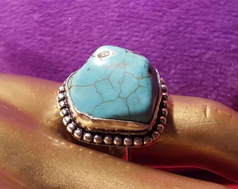 Sterling Silver 9.25 Stamped.Genuine Turquoise Ring.Wedding ring.art deco ring.Antique finished Rings.Bridal Gifts.Wedding  gift ideas.R-371