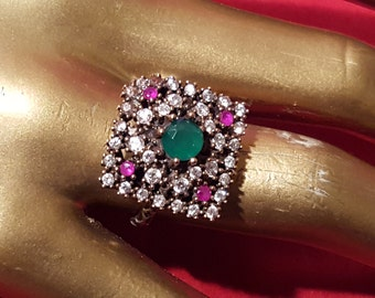 Sterling Silver 9.25 stamped.Genuine Emerald N Ruby.Art deco ring Gold over silver ring.Handmade .Bridal Gift.Antique.Wedding Jewelry.R-371