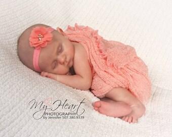 Coral Headband/Coral Baby Headband/Infant Headband/Baby Headband/Baby Girl Headband/Newborn Headband/Flower Headband/Coral/Headbands/Baby