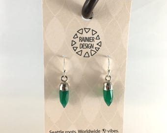 """Green Onyx """"Bullet"""" Tiny Crystal Point Edgy Silver Spike Drop Hook Earrings, Dainty Minimalist Dangle Natural Faceted Semiprecious Gemstones"""