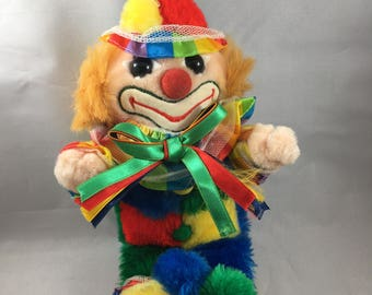 Vintage Bright Primary Colors Fuzzy Stuffed Clown Made by Cuddle Wit