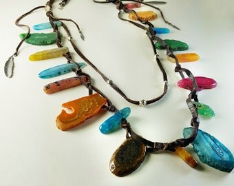 Agate Necklace. Multicolor necklace. Silver necklace. Long necklace. Ethnic necklace. Boho necklace. Agate Necklace. Ethnic Necklace. Boho Necklace