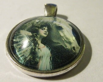 Round Glass Dome Pendant of Renaissance Lady and her White Horse, 1""