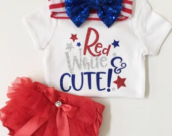 baby girl 4th of july/Red, White and Cute onesie/ baby girl outfit