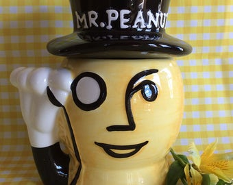 Vintage Mr Peanut Planter peanut advertising cookie jar storage jar kitchen decor