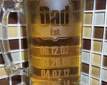 Personalized Etched Glass Beer Mugs