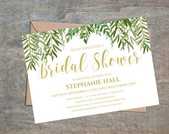 Rustic Bridal Shower Invitation, Greenery Wedding Printable , Boho Bridal  Shower, Gold Wedding Calligraphy