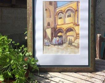 "Original watercolour painting ""Church of the Holy Sepulchre. Jerusalem"""