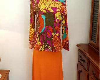 Awesome Vintage Christenfeld Capers Bold & Bright Jungle Print Mod Blouse Size Medium