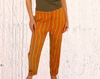 Womens hippie pants cotton loose pants summer pants with pockets  boho trousers striped yellow summer pants Vintage 1980s Size Small Medium