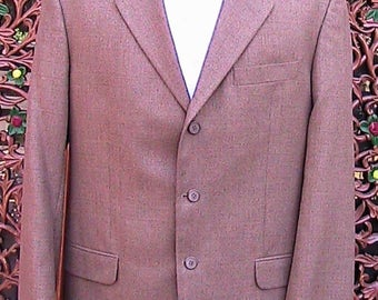 42 Long Brown Three Button Sport Coat