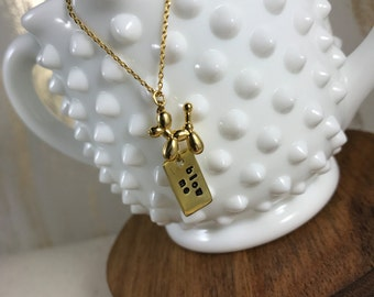 BLOW ME // Balloon Dog & Stamped Tag Necklace
