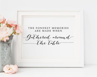 """Dining Room PRINTABLE Art """"Fondest Memories are Made When Gathered Around the Table"""" Print 16x20 8x10 Kitchen Inspirational Poster Digital"""