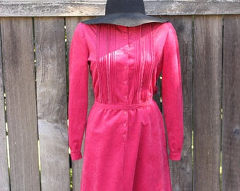 Vintage Dress, California Girl 1970s Suede Dress in Wine, Boho Style, Festival Wear, Spring Fashion Size Medium