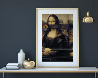 Mona Lisa - Unique creation in limited edition - Modern glitch art - Professional shipping & fast delivery - Free shipping !