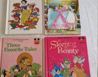 4 vintage walt disney childrens story books 1973 to 1995 - snow white - cinderella - sleeping beauty - goofy donald duck mickey tales kids