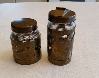 vintage mexico sugar dispenser & condiment jars w/ brass metal overlay sleeves - storage screw tops bottles cannister art rustic kitchen