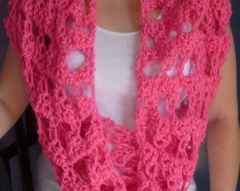 Hot pink extra large sized infinity wrap or scarf.