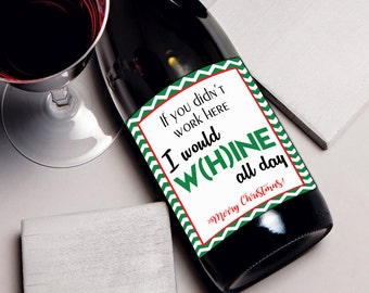 Coworker Christmas gift wine label, gift for coworker, wine bottle label Yankee swap White elephant gift ideas for coworkers, holiday party