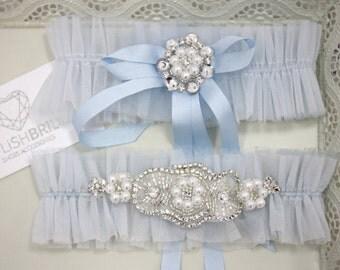 Wedding Garter Tulle Set Blue, Blue Bridal Garter, Tulle Blue Garter, Tulle Blue Bridal Garter Set, Blue Wedding Garter Set