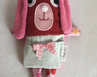 Plush, plush-comfort, Doggie, dog, dog, dog Pocket gift for child, Valentine gift, birthday gift, pink, Red