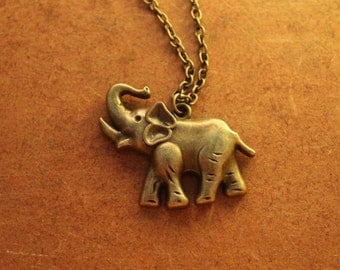Elephant Necklace, Antique Bronze Elephant Necklace, Chain Necklace, Elephant Pendant, Elephant Jewelry, Elephant Necklace