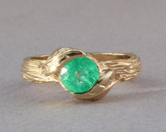 Emerald Leaf Engagement Ring, Emerald Nature Ring, Emerald Ring, Emerald Anniversary Ring, 18k Gold Floral Leaves Ring, May Birthstone, Gift