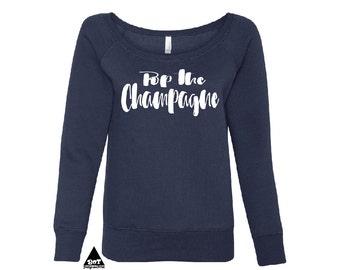 Pop The Champagne Women's Off The Shoulder Sweatshirt