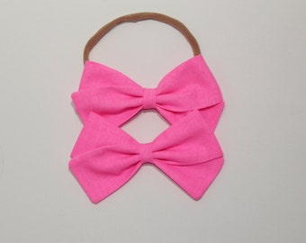 Fabric Bow for Baby Girls and Toddlers - Nylon Headband or Clip - Neon Pink