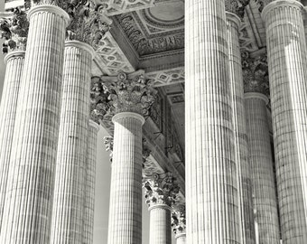 Paris France, black and white photography, Paris architecture, columns, the Pantheon, fine art photography, Paris art print