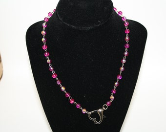Iridescent Heart Jewelry Set Handmade All Pink Glass Iridescent Short Necklace Earrings Girl Woman Plus Choker