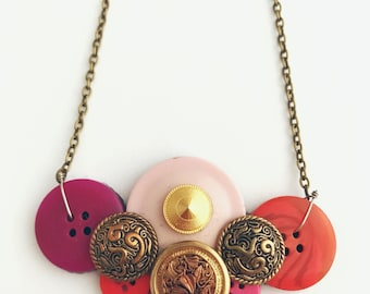 Recycled Button Vintage Style Pink Purple Red Gold Bronze Necklace
