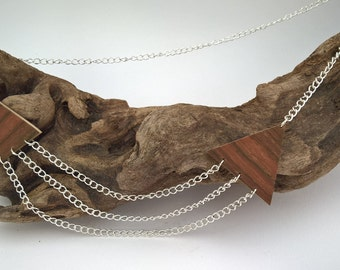 """Necklace sautoir triangle Rosewood """"TreBow"""""""