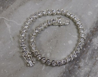 """Vintage Sterling silver CZ cubic Zirconia  tennis bracelet, """"S"""" link 7"""" long/ April Birthstone/ estate jewelry/ bridal jewelry gifts for her"""