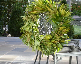 Leucadendron and Bay Wreath | Summer Wreath | Eucalyptus Wreath | Wreaths for Front Door | Front Door Wreath | Wreaths for Front Door