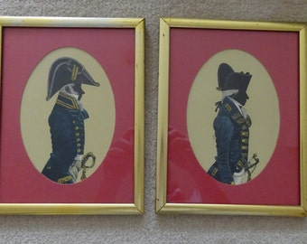 Two Framed Silhouette Pictures of Captain in Frock Uniform 1787 - 1795 and Physician in Full Dress 1805 - 1825
